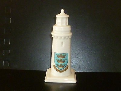 WH GOSS Crested China Model of Teignmouth Lighthouse. Crest of Kingston-on-Hull
