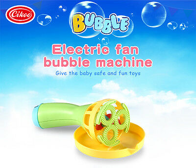 Kids Childhood Outdoor Game Water Fun Play Toy Electric Bubble Blower Blow Gun