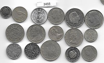 World x 16 Mixed Coins All Differant Silver Colour