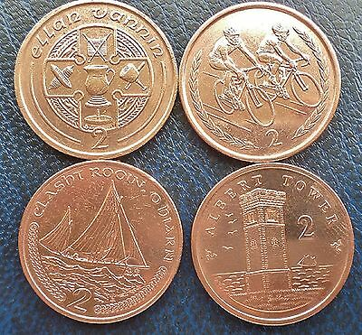 Isle of Man lot of 4 different two pence coins 1995-2016