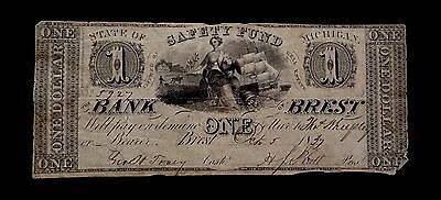 One Dollar 1837 Bank Brest -State Of Michigan.