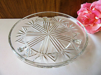 Vintage Depression Glass Art Deco Cake Plate - 3 Footed Stand