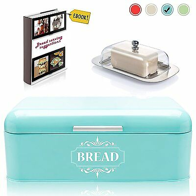 Vintage Bread Box For Kitchen Stainless Steel Metal in Retro Turquoise Blue + 2