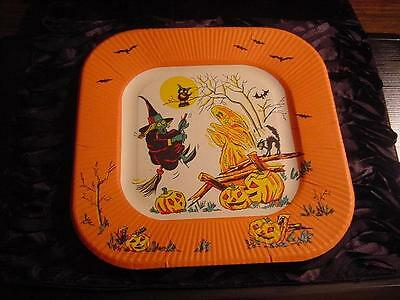 Vintage Unused HALLOWEEN Paper PLATE:WITCH, GHOST, JOLS, OWL, BAT, BLACK CAT