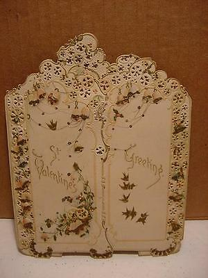 Unique Antique/Victorian Stand-Up Folded VALENTINE-Glitter,Embossing,Gold,Birds