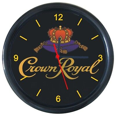 Cold Beverage Ice Beer Drinks Crown Royal Logo Sign Round Wall Clock