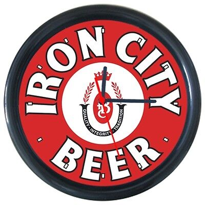 Red Cool Beer Beverage Bottle Drinks Iron City Beer Logo Sign Round Wall Clock