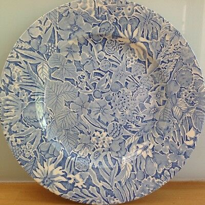 "BURLEIGH SCILLA Lillian Delevoryas 10"" Dinner Plate Blue and white 80s vintage"