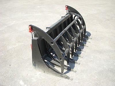 """Skid Steer Tractor Loader Attachment - 78"""" Root Rake Clam Grapple - Ship $199"""
