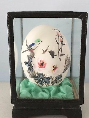 Vintage Chinese Hand-Painted Egg In Wooden Glass Case: Flowers & Bird