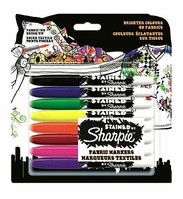 Sharpie Stained Fabric Markers Assorted Ink With Brush Style Nib 8 Pack School