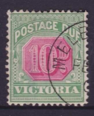 """VICTORIA SCARCE 1901 10d  POSTAGE DUE """"CTO"""" USED SG D17  (DF25)"""