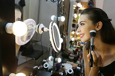 10X Round Cosmetic Makeup Mirror Magnify Details LED Lights Compact Suction Base