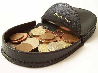 SMALL Black Leather Gents Mens Coin Tray Change Wallet Purse  Pocket CHANGE