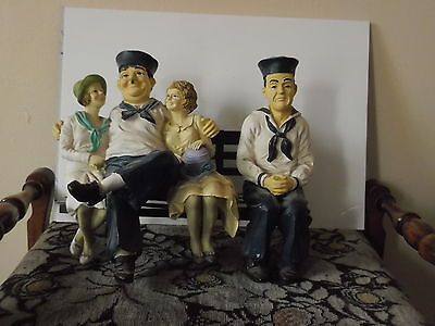 Laurel And Hardy Figures Statues Figurines Sat On Bench With Girls Sailors