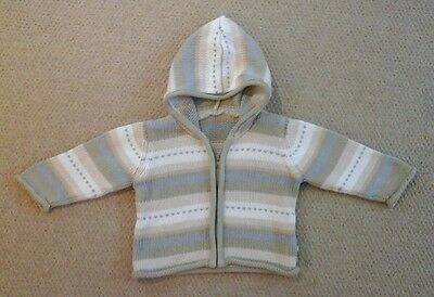 Baby boy cardigan 6/9m blue beige  green stripes Mothercare