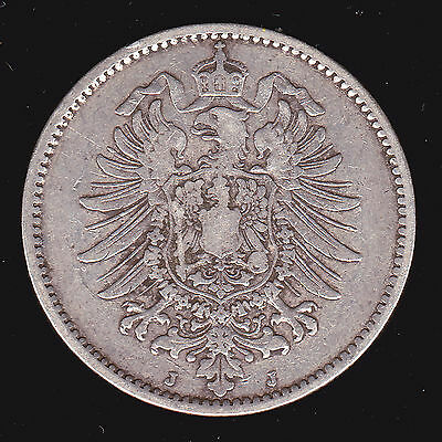 Germany, Empire 1881 J One 1 Mark KM# 7 VF Silver German Better Date Coin