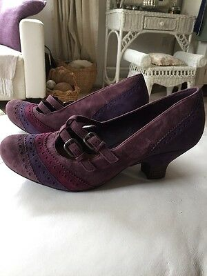 Beautiful Leather 1940s Vintage Style Heeled Shoes Size 8