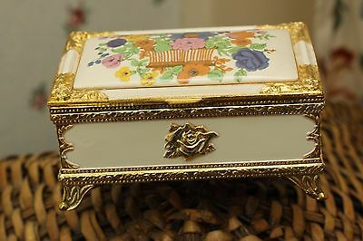 Floral Japanese Music Box/ Jewelry Case With Gold Trim