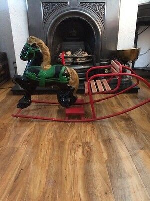 Vintage 1940s Metal Rocking Horse With Wooden Chair/sleigh