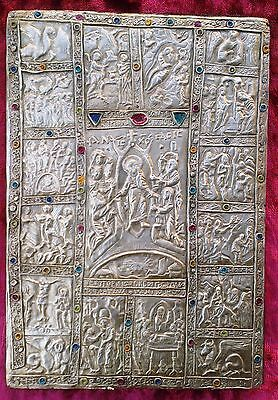 Old unique  silver icon of the orthodox covering of  Manasses chronicle.