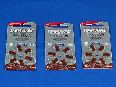3 Packs Of 6 Rayovac Extra Advanced  312 Hearing Aid Batteries