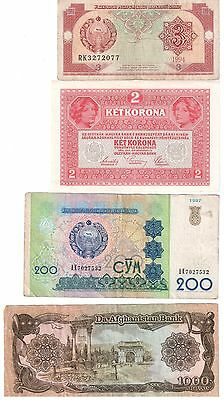 8 x Foreign World Paper Money Banknotes Circulated Austria Afganistan Mongolia