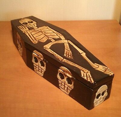 Hand Carved Small Wooden Skeleton Coffin | Mexican Day of the Dead | Halloween