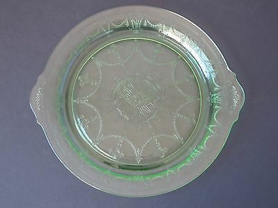 Anchor Hocking Cameo Green Handled Cake Plate Depression Glass 1930's