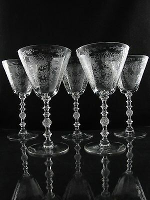 Cambridge Diane Floral Etched Water Goblet Glasses, Set of (5) #3122