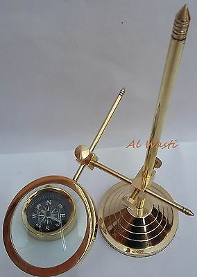 Brass Magnifying Glass Solid Vintage Desktop Adjustable Stand With Brass Compass