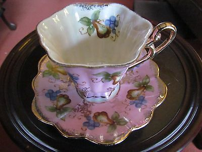 Vintage Shafford Hand Decorated Tea Cup & Saucer
