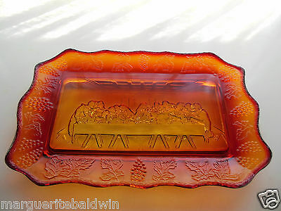Tiara Indiana Glass Sunset Lord's Supper Bread Tray