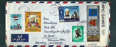 V.rare Yemen High Value 10 Stamps Cover To Germany Receiving Cancel On Reverse