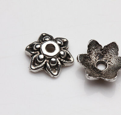 100Pcs Tibetan Silver Flower Shaped Beads Cups Charm Jewelry Findings DIY 9x3mm