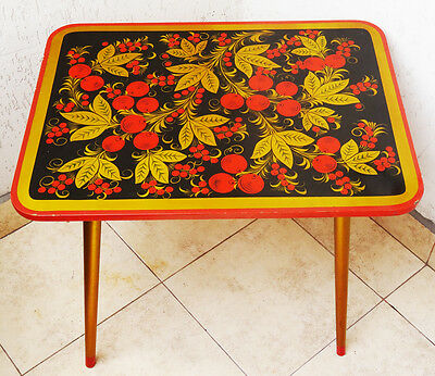 Vintage Khokhloma Wooden Coffee Table Art Lacquer Children Hand Painted Folk20th