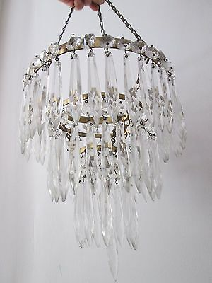 Pretty Vintage 3 Tier Waterfall Brass & Glass Chandelier Ceiling Light Shade