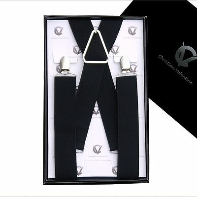 Men's Black X3.5cm Extra Large Braces Suspenders Mens