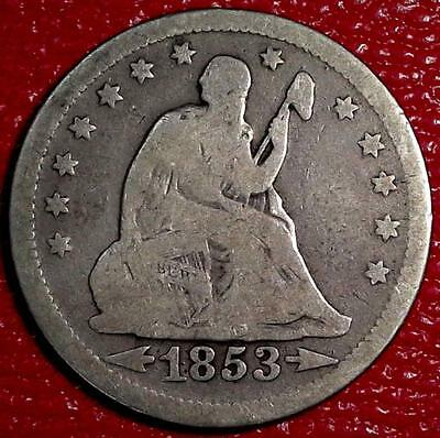 1853 Arrows & Rays Seated Liberty Quarter Silver Coin G/vg #b307