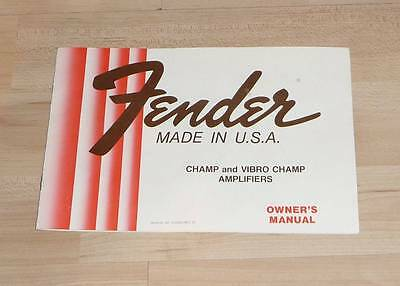 Fender Champ and Vibro Champ Amplifiers Owner s Manual Propekt Werbung Vintage
