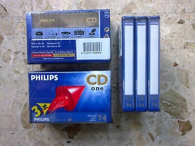 AUDIO CASSETTE PHILIPS CD ONE 74 min. VERGINI - lotto 3 cassette NUOVE SIGILLATE