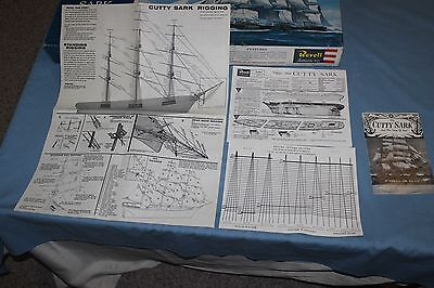 Vintage Revell Cutty Sark model 9323 parts. Decals, ropes, rigging, box, lifeboa