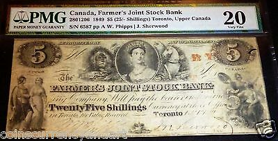 1849 $5 (25 Shillings)The Farmers Joint Stock Bank.pmg 20. Toronto Upper  Canada