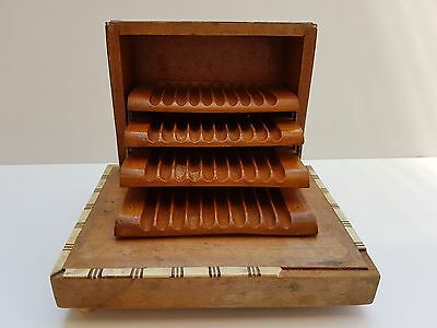 Vintage Cigarette Case Music Box Wooden Mother-of-Pearl Inlay