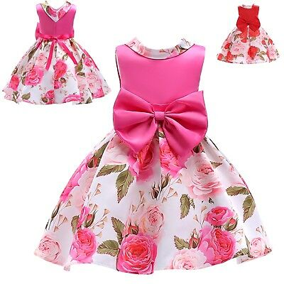 Vestito Bambina Abito Cerimonia Rose Girl Summer Flowers Party Dress DG0048B P
