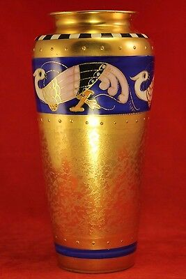 """Antique 1910 Pickard 7⅛"""" Gilt Vase w Blue Band, Peacocks - Artist Signed COUFALL"""