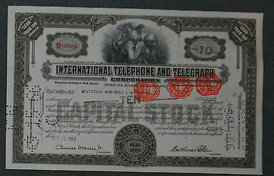 International Telephone and Telegraph Corporation 1950 10 Shares brit. Steuerst.