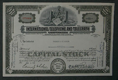 International Telephone and Telegraph Corporation 1963  15 Shares .