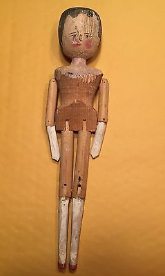 """Approx. 12"""" Antique Penny Wooden Jointed Doll"""