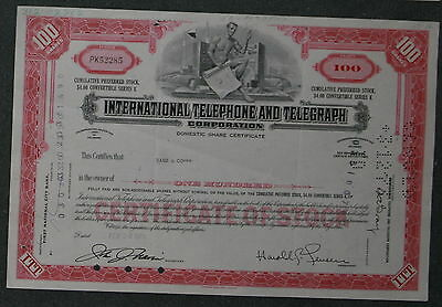 International Telephone and Telegraph Corporation 1970 100 Shares .